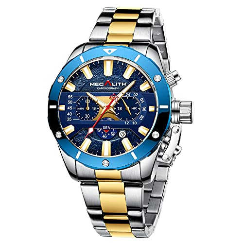 MEGALITH Relojes para Hombre, cronógrafo Militar Resistente al Agua, Reloj de Cuarzo analógico de Acero Inoxidable, Hombre con Esfera Grande Relojes de Negocios con Fecha para Hombres
