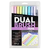 トンボ鉛筆 筆ペン デュアルブラッシュペン ABT パステル 10本セット AB-T10CPA