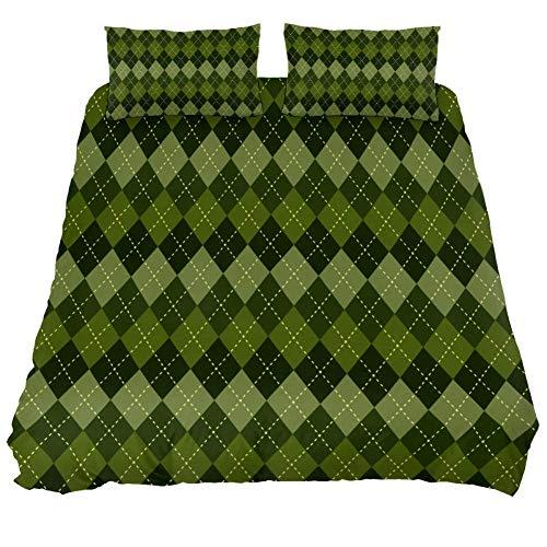 Bennigiry UK Queen Size Green Plaid Bettwäsche-Set 3-teilig Bettbezug mit Kissenbezug mit Reißverschluss Eckbändern für Männer Frauen Teenager