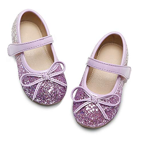 Toddler Little Girl Purple Mary Jane Dress Shoes - Ballet Flats for Girl Party School Shoes(Purple,9 Toddler
