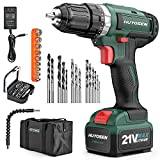 HUYOSEN Cordless Drill Driver, 21V Professional Impact Drill, 46N.M Torque- 3/8''Auto Chuck, 23+1 Clutch, 57 Pcs Accessorie, Built-in LED Power Drill Drivers Set for Drilling Wall Wood Metal DIYs