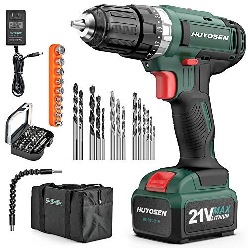 HUYOSEN Cordless Drill Driver 21V Max Impact Drill,Professional Electric Drill 23111 Torque Setting Battery Drill Variable Speed Kit 46NM Power Drills Sets 56 Pcs Accessories1 Pc Liion Battery
