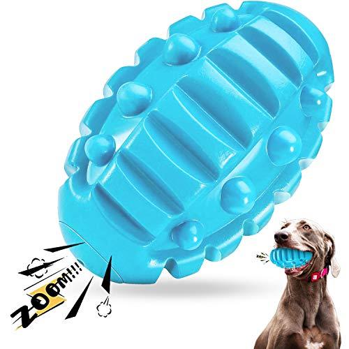 Hundespielzeug Unzerstörbar, Ungiftiges Naturkautschuk Quietschendes Hunde Spielzeug, Robustes Welpenzahnbürstenspielzeug für Hunde - Spaß Beim Kauen, Jagen und Holen (Rindfleischgeschmack)