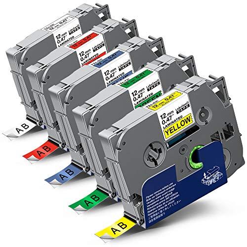 5x Labelwell 0.47 12mm x 8m Sostituzione Nastro Compatibile per Brother Tz Tze-231 Tze-431 Tze-531 Tze-631 Tze-731 per Brother P-Touch PT-H101C PT-H110 PT-H105 PT-2030VP PT-P750W PT-H101GB PT-D210VP
