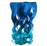 AGPtek 26' Enstyle Supreme Neon Tangle Curly 100% Human Color Hair Extension Ponytail- Dark blue to Royal Blue