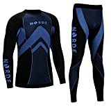 (Black / Blue, XL) - THERMOTECH NORDE Functional Thermal Underwear Breathable Active Base Layer SET