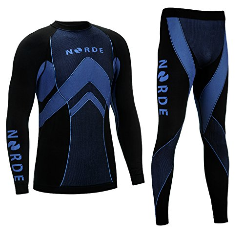 Thermotech Norde męska bielizna funkcyjna, termoaktywna, oddychająca, Base Layer Set, outdoor, kolarstwo, bieganie, kolor czarny/niebieski, rozmiar S