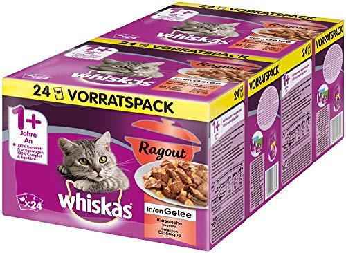 Whiskas 1 + Katzenfutter Ragout – Klassische Auswahl in Gelee – Hochwertiges Nassfutter mit wichtigen Inhaltsstoffen – 2 x 24 Portionsbeutel à 85g