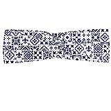 ABAKUHAUS Diadame Índigo, Banda Elástica y Suave para Mujer para Deportes y Uso Diario Modelo geométrico portugués Azulejo Diseño azulejo cuadrado modelo abstracto, Indigo blanca