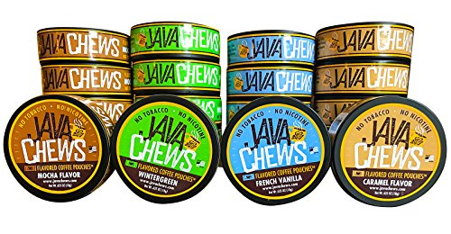 Java Chews, Premium Flavored Coffee Pouches, No Tobacco, No Nicotine Smokeless Alternative, Caramel, French Vanilla, Mocha, Wintergreen Variety Pack (4 Cans)
