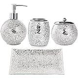 WHOLE HOUSEWARES 4-Pieces Mosaic Glass Bathroom Accessories Set, Soap Dispenser, Tray/Soap Dish (Silver)