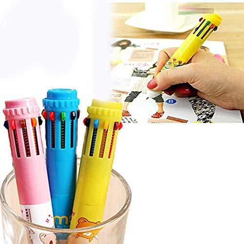 Plastic Multicolors Pens Stationery Ballpoint Pens Children Gift Colorful Pens