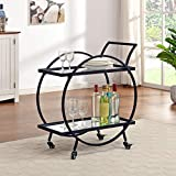 FirsTime & Co. Silver and Gray Odessa Bar Cart, American Designed, 28 inches, Black & Mirror (70242)