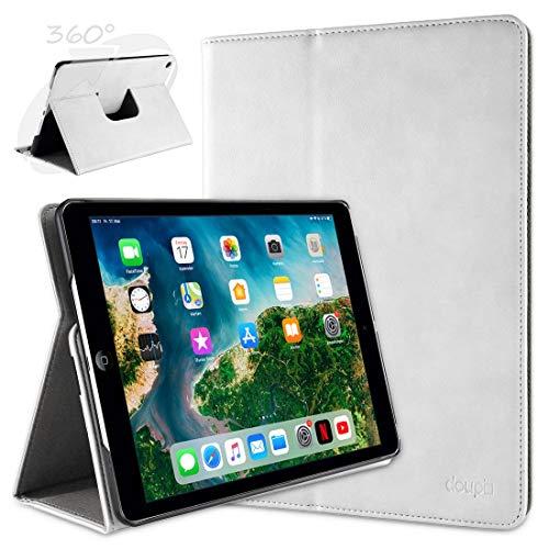 doupi Deluxe Schutzhülle für iPad Air (1. Gen.), Smart Hülle Sleep/Wake Funktion 360 Grad drehbar Schutz Hülle Ständer Cover Tasche, weiß