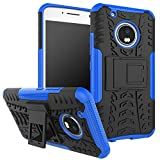 Moto G5 Plus Case,Moto G Plus (5th Generation) Case, DINGXIN [Shockproof] Tough Rugged Dual Layer Protective Case Cover [with Kickstand] for Motorola Moto G5 Plus (2017) (Blue, Moto G5 Plus)
