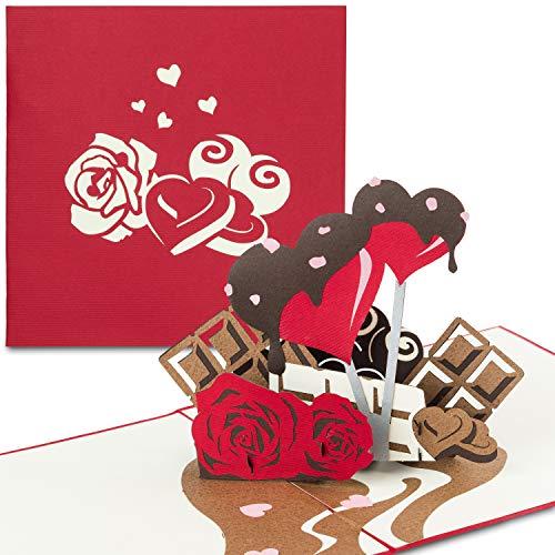 """PaperCrush® Pop-Up Karte """"Sweet Love"""" - 3D Geburtstagskarte mit Herz & Schokolade, Valentinskarte für Freundin oder Frau - Romantische Liebeskarte zum Valentinstag oder Hochzeitstag (Ich Liebe Dich)"""