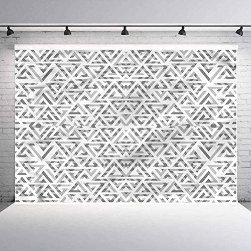 6x6FT Vinyl Wall Photography Backdrop,Grey,Ancient Triangular Arrangement Background for Baby Birthday Party Wedding Studio Props Photography