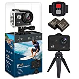 4K Action Camera, Waterproof WiFi Sports Camera Full HD 4K 25FPS 2.7K 30fps 1080P 60fps Video Camera 12MP Photo, 170 Wide Angle Lens Includes 11 Mountings Kit 2 Batteries | Just Like GoPro | H9S