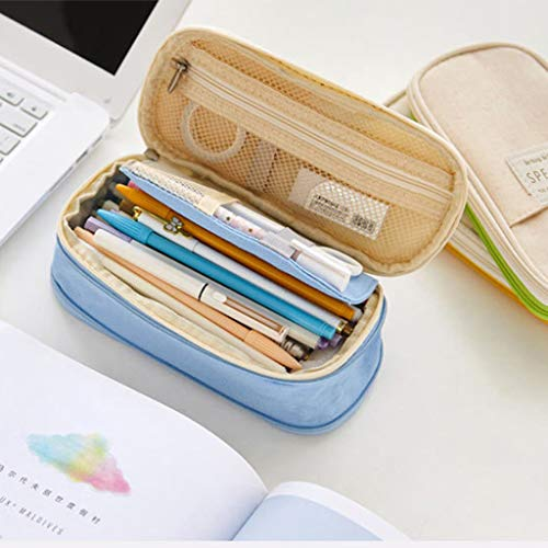 Yellow wang Canvas Large Capacity Pencil Case Multifunktionaler Reißverschluss School Portable