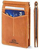 SERMAN BRANDS RFID Blocking Wallet Slim Bifold - Genuine Leather Minimalist Front Pocket Wallets for Men with Money Clip (California Desert Rogue)