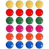 Imanes de oficina, 24 unidades, redondos, coloridos imanes para neveras y pizarras blancas para decoración de mapas, 6 colores