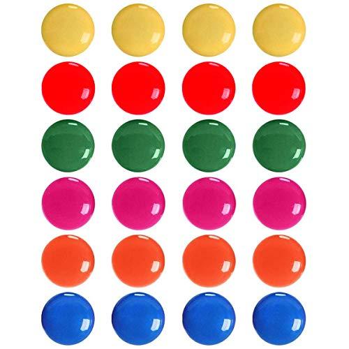 BSTHP - Magneti da ufficio, confezione da 24, colorati e rotondi per frigorifero e lavagna bianca, per decorazioni mappe, 6 colori
