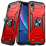 DASFOND Armor Hülle Kompatibel mit iPhone XR 6.1' Militärische Stoßfeste Case 15-Fuß-Falltest Cover [Upgrade 2.0] 360 ° Drehbarer Ständer Halter und Magnetischer Autohalter Handyhülle, Rot
