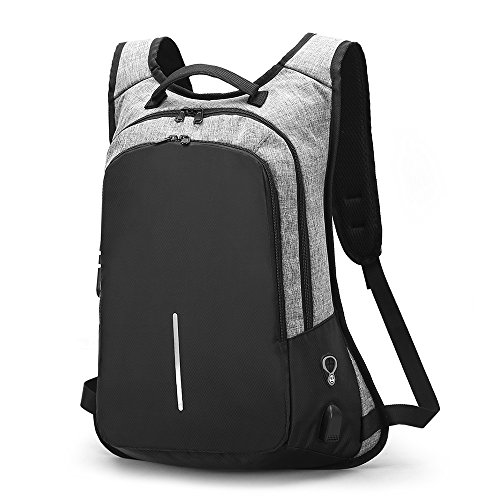 LOSMILE Laptop Backpack, Anti-Theft Business Travel Work School Rucksack with USB Charging Port Earphone Port and Coded Lock, Water Resistant Bag Lightweight Daypack Fits 15.6 Inch Notebook Men Women.