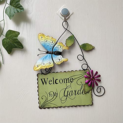 Fortune_90s Decoración de pared de mariposa pintada,Colgante decorativo de la valla,Decoración de puerta de vidrio pintado de hierro forjado,Jardín Patio Patio Natural Ornamento