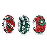 Fleur Rayée Vert Rouge Cristal Mélanger Paires De 3 Entretoise Pendre Charms Et Perles Bracelet Européen Sterling Argent
