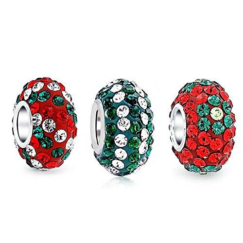 Navidad Rojo Flor Verde Striped Cristal Mix Conjunto De 3 Separador Colgante Abalorio Fit Charm Europeo
