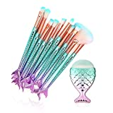 11PCS Fish Tail Makeup Brushes Set, Foundation Eyebrow Eyeliner Blush Cosmetic Concealer Brushes Women Girl Cute Make Up Tool Set (Colorful Mermaid Handle)
