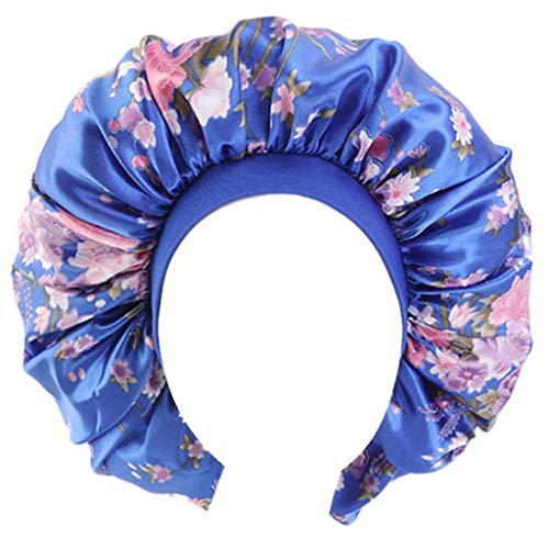 guangzhou Femmes Extra Large Satin Bonnet Sleep Night Cap Large Bande Floral Jumbo Chemo Cap Imprimé Stretch Nightcap Royal Blue