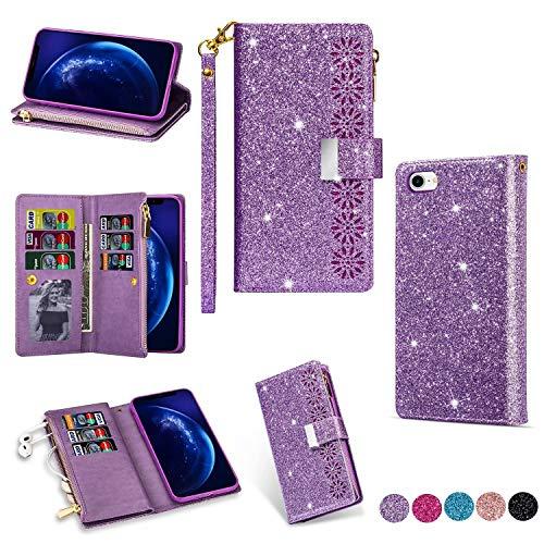 Miagon Reißverschluss Brieftasche Glitzer Hülle für iPhone SE 2020,Flip Handytasche mit 9 Kartenfächer Handschlaufe PU Leder Magnet Bling Multifunktions,Lila