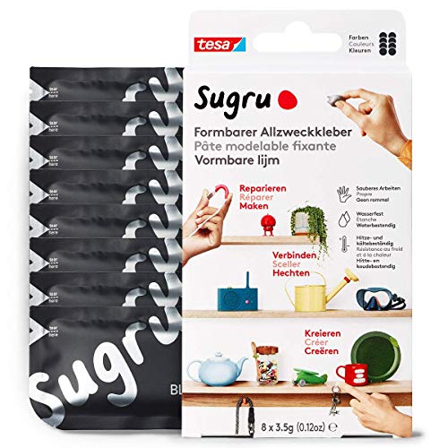 Sugru by tesa® - Formbarer Allzweckkleber, starker Allzweck-Klebstoff, 8er-Pack (8 x 3,5 g) in Schwarz