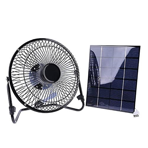 YUXIwang Mini ventilador USB Panel Solar Alimentado/USB Ventilador de hierro de carga 8 pulgadas Ventiladores de aire de refrigeración para viajes al aire libre Pesca Oficina en el hogar