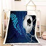 Meiju Sherpa Flauschige Decke 3D Fußball Muster Decke für Sport Junge Winter Weiche und Warme Kuscheldecke Doppelschicht Microfaser Wohndecke Bettüberwurf Sofadecke (G,150x200cm)
