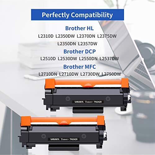 Wewant Toner TN-2420 Reemplazo para Brother TN2420 TN2410 Cartucho de Tóner Compatible con Brother DCP-L2510D L2530DW L2550DN, MFC-L2710DN L2730DW L2750DW, HL-L2310D L2350DW L2370DN L2375DW, 2 Negro