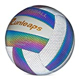 Holographic Glowing Reflective Volleyball - Light Up with Camera Flash Soft Lightweight Indoor Outdoor for Teenagers / Beginners Standard Size 5 Ball Gift Night Games