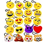 JZK 20 x Mini Juguete de Peluche Emoji Llavero emoticonos llaveros para niños y Adulto Regalo Fiesta de cumpleaños Navidad Fiesta Regalo de Relleno de Juguete