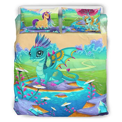 superyu Juego de edredón de 3 piezas Dragón 100% fibra de poliéster estilo pareja cama para abuela blanco 66x90 pulgadas