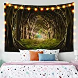JIEJIE Tapices Mystic Forest Forest Fairy Tale Enchanted Forest Nature Woods Tapices Tapicería Colgante Viejo Árboles Mágicos Pasta Tapicería Decoración de la Pared 150 cm x 200 cm