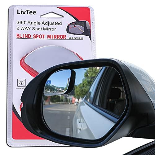 LivTee Blind Spot Mirror,Newest Fan Shaped HD Glass Frameless Convex Rear View...