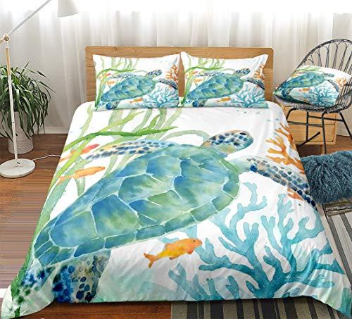 Merryword Watercolor Turtle Bedding Teal Green Ocean Duvet Cover Set Abstract Sea Coastal Themed Design Watercolor Bedding Sets Queen 1 Duvet Cover 2 Pillowcases (Queen, Sea Turtle)