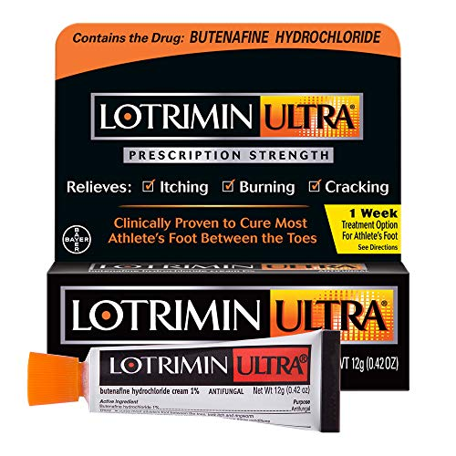 Lotrimin Ultra 1 Week Athlete's Foot Treatment, Prescription Strength Butenafine Hydrochloride 1%, Cures Most Athlete's Foot Between Toes, Cream, 0.42 Ounce (12 Grams)