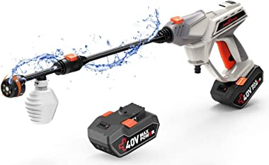 ROCKPALS Cordless Portable Power Cleaner, Max 870 PSI 40V Portable Pressure Washer, Battery Power Washer for Outdoor Cleaning