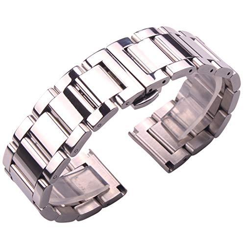 ZXF Correa Reloj, Pulsera de Correa de Acero Inoxidable Metal DE Plata Hombres 18 20 21 23 23 Mujer DE Moda DE Moda Correa Pulsera (Band Color : Polished, Band Width : 22mm)