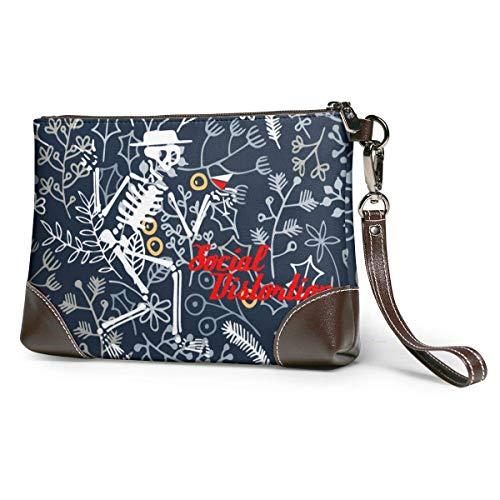 Carteras Women's Leather Wristlet Clutch Wallet Social