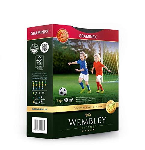Graminex Wembley Sport und Spiel Rasensamen, Premium Rasensaat, Grassamenmischung Strapazierfähig und Trittfesten, Geeignet für Sportanlagen, 1kg Für bis zu 40 m2