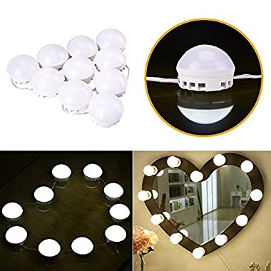 uniwood Vanity Mirror Makeup Lights, Hollywood LED Dimmable Light Bulbs with Hidden Rotating Fixture Strip for Bathroom Vanity Lighting/Dressing Cosmetic Mirror Table (10 bulbs)